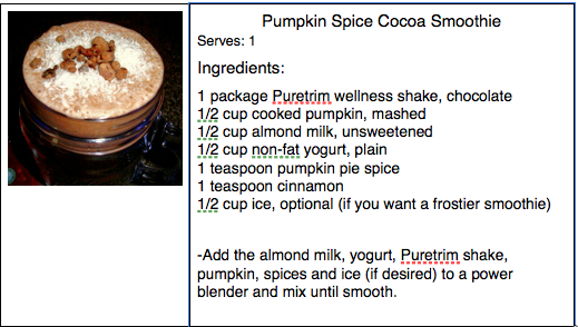 Pumpkin Cocoa smoothie recipe